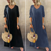 Load image into Gallery viewer, VONDA Plus Size Women Long Sleeve V Neck Casual Loose Solid Beach Holiday Long Maxi Dress Robes
