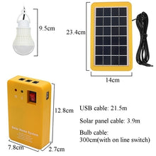Load image into Gallery viewer, Upgrade 2/3 LED Light Bulb 3W/3.5W 4000mAh Solar Panel Lighting Kit Solar Generator Solar Home DC System Kit USB Solar Charger Emergency Light 4 Heads USB Charging Cable for Outdoor Solar Camping Light