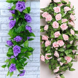 2019 New 2.45m Artificial Simulation Silk ROSE Flower Hanging Vine Ivy Decoration for Home Decor Wedding Bouquet (8Colors)