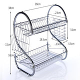 2-3 Tiers Dish Drying Rack Kitchen Washing Holder Basket Plated Iron Kitchen Knife Sink Dish Drainer Drying Rack Organizer