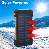 Upgrade! Waterproof 990000mAh Solar Power Bank with LED Light Solar Charger Ports External Charger Powerbank for Smartphone