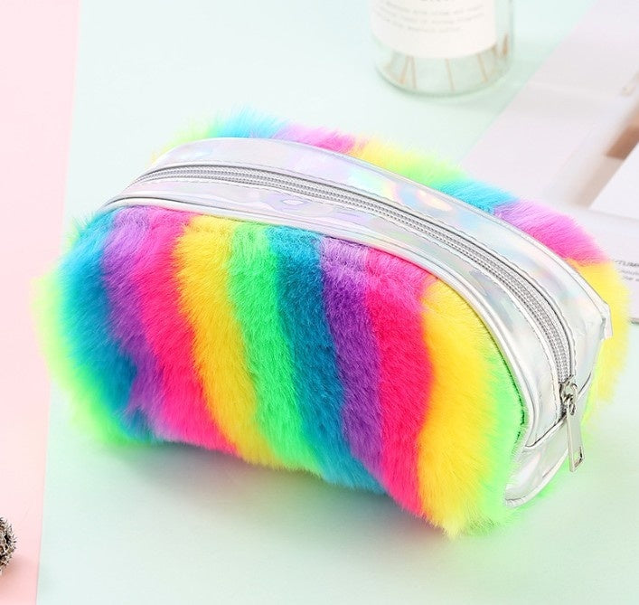 Rainbow Color Plush Pencil Bag Large Capacity Storage Bag for  School Office Home Toy Gift