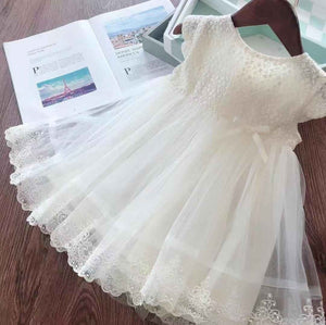2019 Summer Latest Pretty Girls Short Sleeve Embroidered Tulle Lace Tutu Dress For Party Wedding Holiday Casual