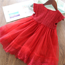 Load image into Gallery viewer, 2019 Summer Latest Pretty Girls Short Sleeve Embroidered Tulle Lace Tutu Dress For Party Wedding Holiday Casual