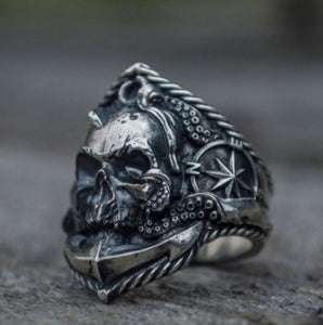 Anchor Seaman Stainless Steel Ring Unique Compass Octopus Tentacle Skull Biker Rings Punk Sailor Jewelry