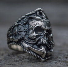 Load image into Gallery viewer, Anchor Seaman Stainless Steel Ring Unique Compass Octopus Tentacle Skull Biker Rings Punk Sailor Jewelry