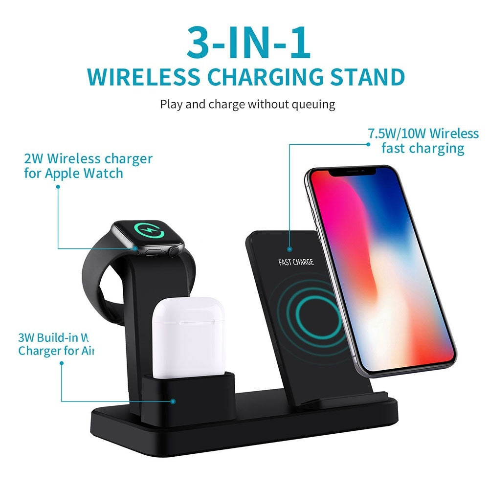 FDGAO 3 In 1 Qi Standard Wireless Charger 10W Fast Phone Charger Wireless Charging Stand for Airpods Apple Watch 4/3/2/1 IPhone X XS XR 8 8P