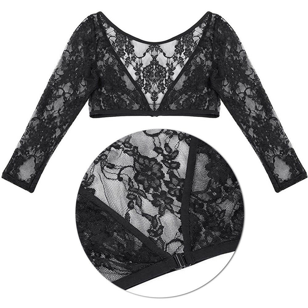Women's Long Sleeve Inside Top Floral Lace Shrug Bolero Cardigan Slim Lace Jacket Tops