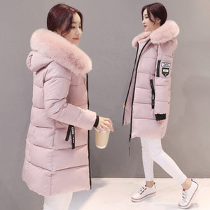 2019 The Newest Women Fashion Winter Long Fur Hooded Down Cotton Cotton-padded Jacket Warm Puffer Coats Jackets Warm Parkas