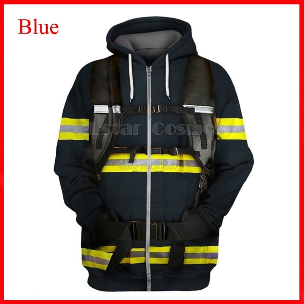 3D Print zipper Hoodie Mens/womens Hoodies hip hop Jacket cosplay shirt Firefighter Suit plus size
