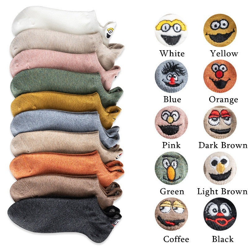 1Pair Funny Embroidery Smiling Face Cotton Boat Socks Cartoon Women Girl Emoji Candy Color Ankle Sock