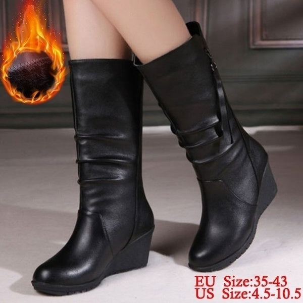 Plus Size 4.5-10.5 Women's Black Leather Short Boots Wedge Boots Zipper Mid-calf Boots Snow Boots