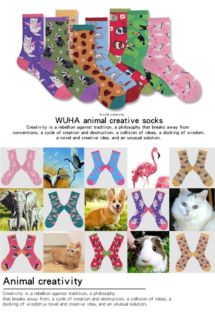 Cotton Women Men's Socks Animal Socks Sweat Breathable Shaping Anti-friction Socks High Stockings Stockings Long Barrel