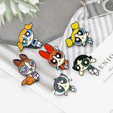 Cartoon Cute The Powerpuff Girls Metal Enamel Collar Pin Lapel Badge Jewelry Brooch Kids Gifts Accessories
