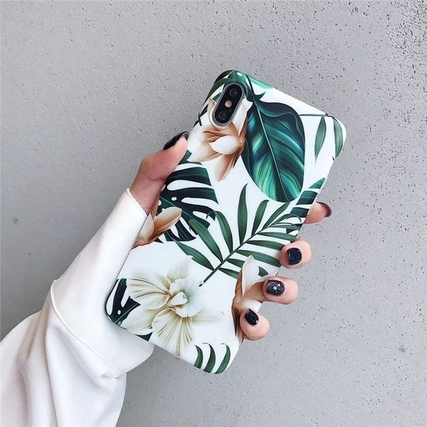 Retro Flower Leaf Soft Phone Case Cover For Apple iPhone 8 Plus X XS Max XR