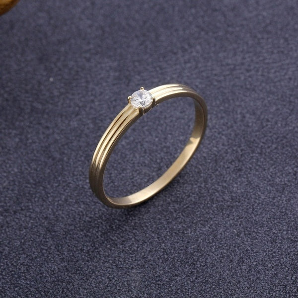 Women Conventional Style 18k Gold Diamond Rings Wedding Engagement Party Ring Jewelry