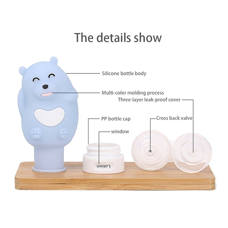 2019 NEW Cute Cartoon Silicone Empty Lotion Shampoo Container Squeeze Travel Bottle 3 Styles