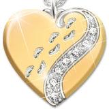 Sparkling Womens Girls Fashion 925 Sterling Silver Footprints heart Topaz Necklace Engagement Wedding Jewelry Pendant Necklace