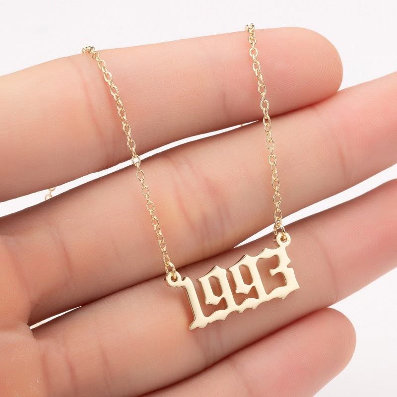 Year From 1980 To Today Anniversary Memory Gifts Charm Necklace Stainless Steel Jewelry Gold Plated Pendant