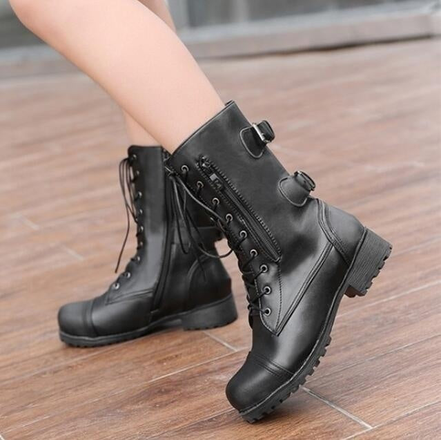 Autumn Winter Womens Lace up Leather Combat boots Army Military Biker Flat Martin Boots Ladies Shoes Plus Size 35-43