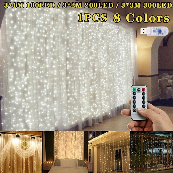3M*3M 3M*2M 3M*1M LED Flashing Outdoor Room Fairy Party Christmas New Year Pretty Decoration Lights Copper Lights Led