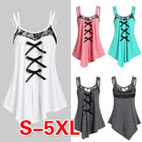 4 Color Summer New Women Fashion Sleeveless Lace Patchwork Slim Fit Tank Tops Casual Style Lace Up Ruffled Tops for Women Comfortable Chiffon Camisole Plus Size S-5XL