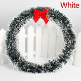 1PC  Christmas Wreath Door Wall Ornament Garland Decoration Red Bowknot green/white
