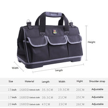 Load image into Gallery viewer, 15/17/20 inch Portable Electrician Canvas Tool Bag Oxford Canvas Rubber-soled Heavy Duty Tool Bag Contractor Storage Hardware Case
