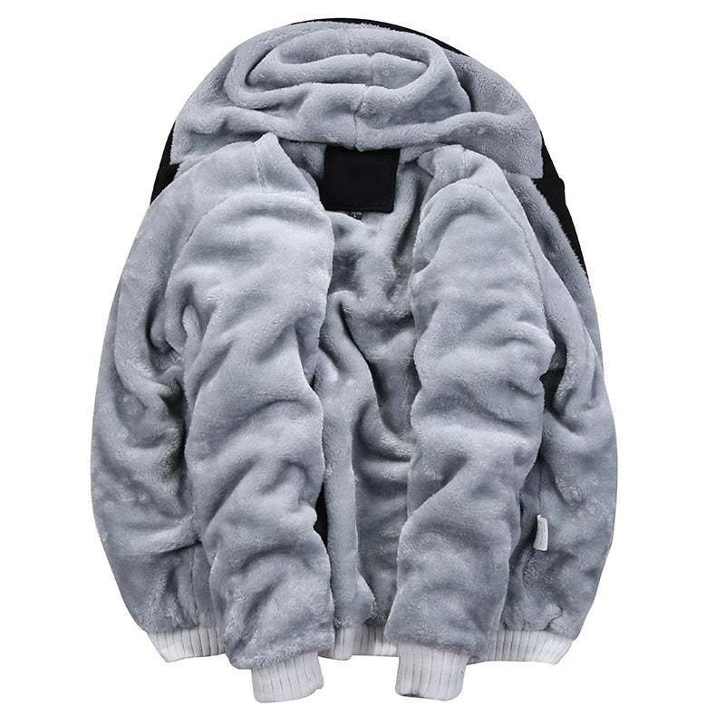 Men's Winter Warm Fleece Hood Jacket+Pants Sweatshirts 2 Piece Set