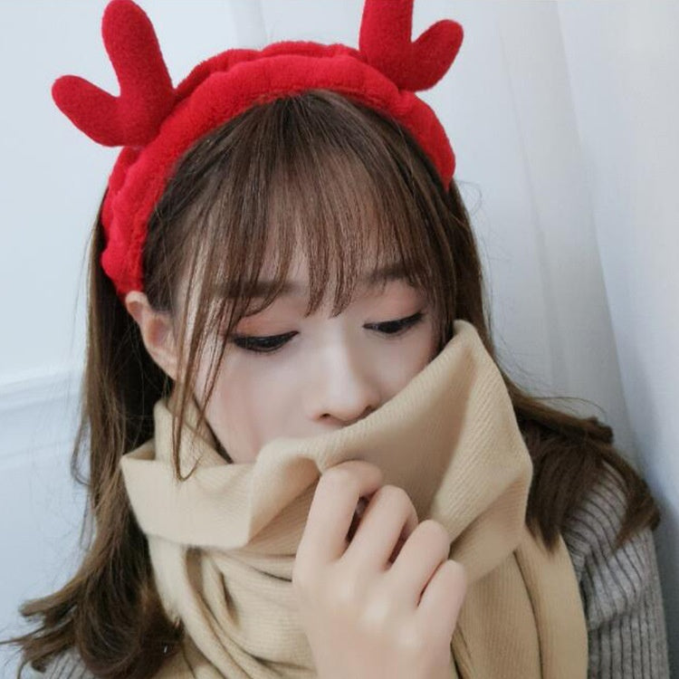 Korean Version Lovely Selling Moose Antler Shampoo Hair Band Japanese Soft Fluffy Christmas Elk Hair Band Hair Hoop