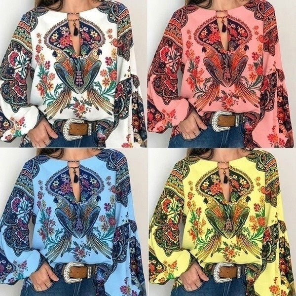 S-5XL Women's Fashion Bohemian Clothes Vintage Ethnic Floral Print Shirts Lantern Sleeve Shirts Plus Size Tops