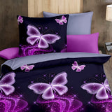 Joyfeel-U Romantic 3d Butterfly Print Purple Bedding Set 3Pcs Duvet Cover Set Comforter BedClothes Single Double Queen King Size