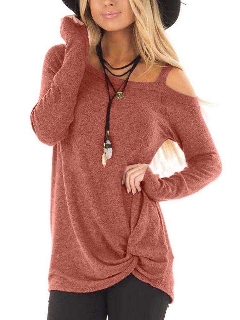 Autumn Womens Casual Loose Long Sleeved T-shirts Cold Shoulder Blouses Tunic Tops Plus Size XS-5XL