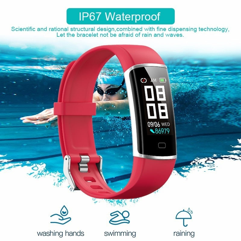 Big Screen Smart Bracelet IP67 Bluetooth Sport Smartband Heart Rate Blood Pressure Oxygen Monitor Fitness Tracker Pedometer Step Calories Counter Sleep Reminder Activity Tracker Smart Wristband for Iphone Android Phone
