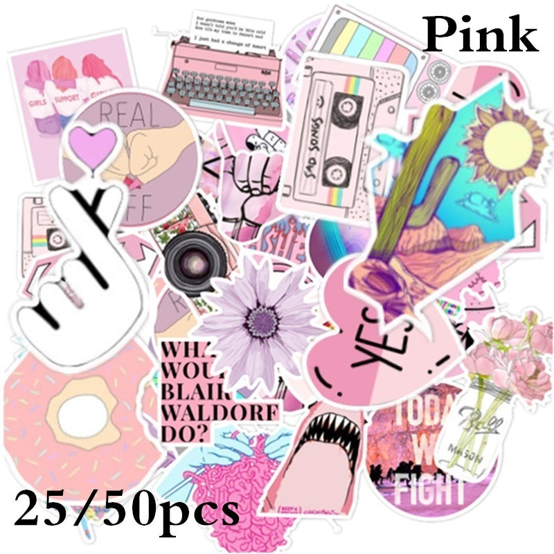 25/50Pcs Fashion Fresh summer Cartoon stickers graffiti sticker pack Cute Multicolor Pink Yellow Stickers Laptop Sticker Fashion Style Waterproof Computer Skin Refrigerator Mixed Decals Stickers
