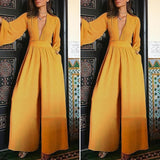 S-5XL Women Deep V Neck Long Sleeve Jumpsuits Overalls Casual Wide Leg Long Pants