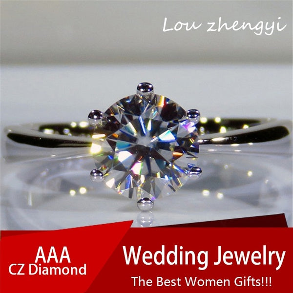 Princess 925 Silver Fashion Dia. 7mm Round Cut White Crystal Zircon Diamond Chic Bride Solitaire Engagement Ring Wedding Jewelry Size 4-12