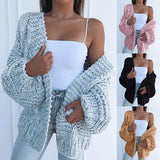 Autumn And Winter Women's Chunky Cardigans Sweater Solid Color Sweater Open Front Sweater Warm Coat  Plus Size S-3XL