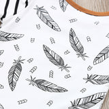 Newborn Cute Baby Kids Boy Girl Clothes  Feather T shirt Long Sleeve Tops Striped Pants Hat Clothes Outfits Set