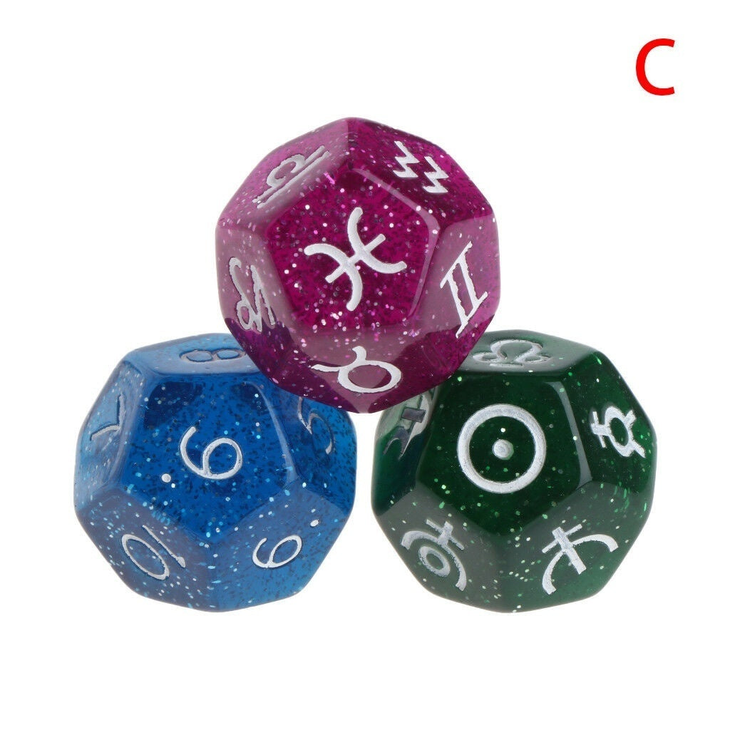3pcs/SET Multicolor 12 Sided 20mm Resin Dice Astrology Tarot Constellation Divination Dice