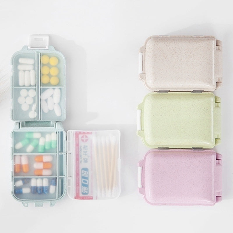 Layer Cute Pill Box With 8 Compartments 7-Day Travel Small Vitamin Organizer