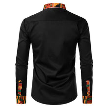 Load image into Gallery viewer, Mens Stylish Mandarin Collar Dress Shirt Casual Slim Fit Long Sleeve African Print Dashiki Shirts with Pocket