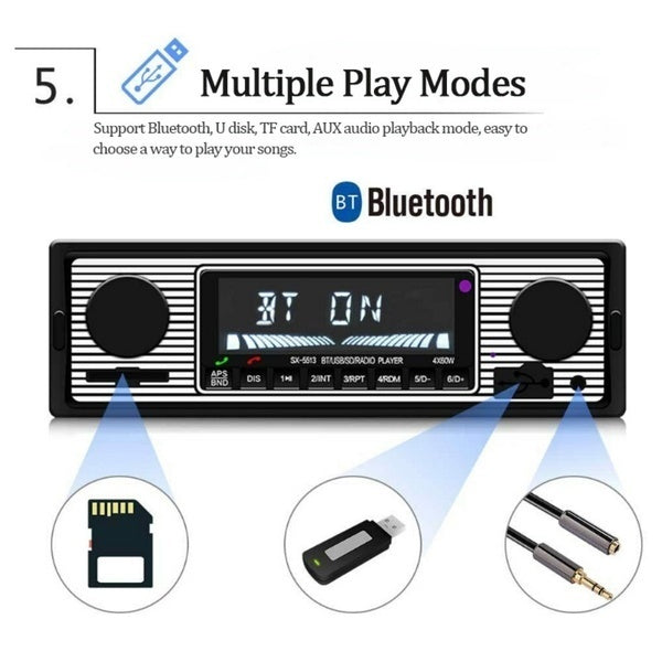 12V 1 Din Multimedia Car Player Bluetooth Car Radio Stereo FM transmitter Radio MP3 Audio Player 5V Charger USB SD AUX Auto Electronics Subwoofer