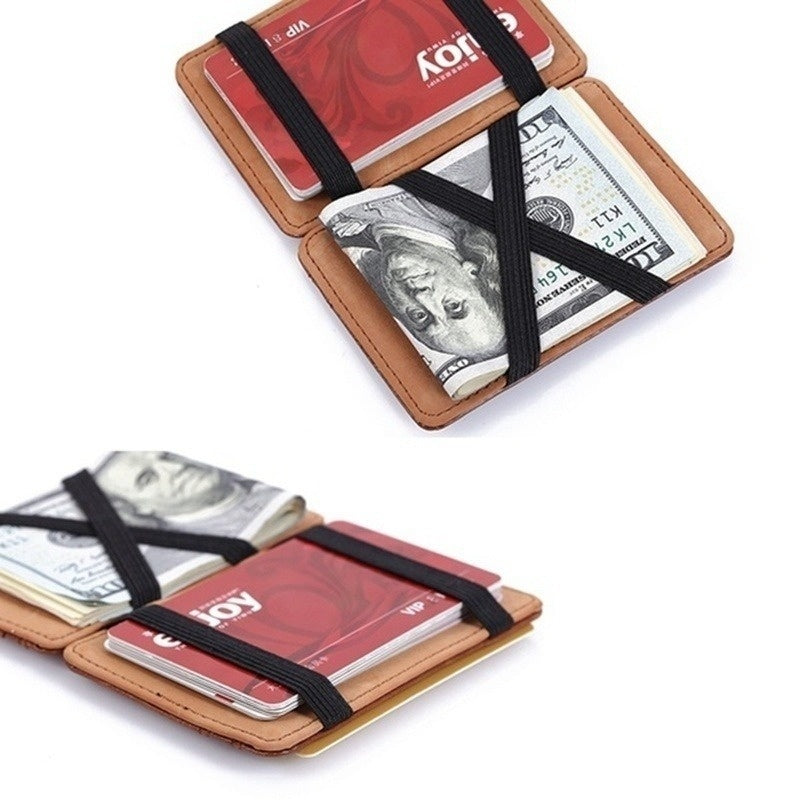 Fashion Men Chic Leather Magic Money Clip Slim Mens Wallet ID Credit Card Holder Case Business Pront Pocket Purse