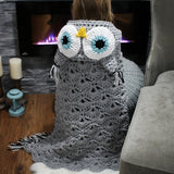 Crochet Owl Hooded Blanket (Color: Grey, Purple / Size:107*76CM,140*107CM)