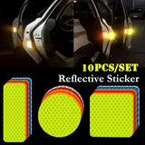 10 Pcs/set Car Reflective Warning Strip Decal Stickers Car Styling Self Adhesive Warning Tape Auto Accessory Reflector Stickers Decals