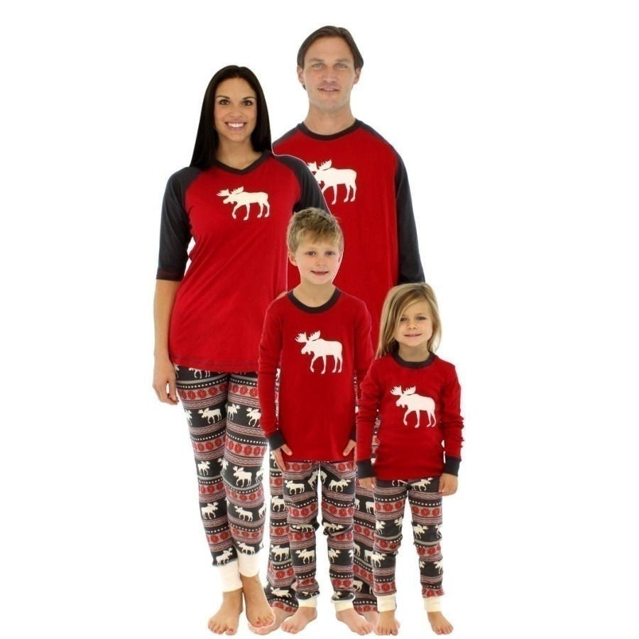 New Christmas Parent-child Wear Deer Home Service Suit Matching Family Outfits Pajama Set