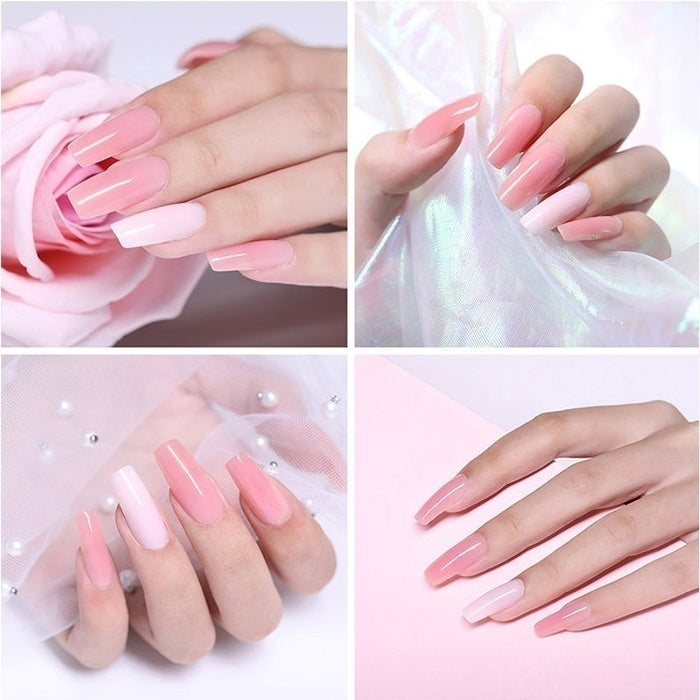 MEET ACROSS 1PC 20ml Acrylic Poly Extension Gel Pink White Clear Crystal UV Builder Gel