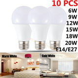 10pcs Led Bulb E27 E14 220V Real Watt 6-20W High Bright Energy Saving Best Cooling LED bulb For Home