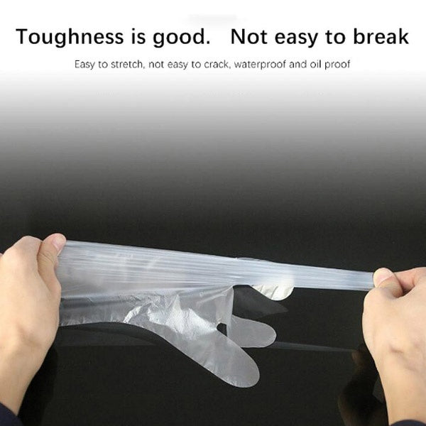 100Pcs/Set Disposable Clear PE Work Gloves Protective Gloves Disposable Gloves